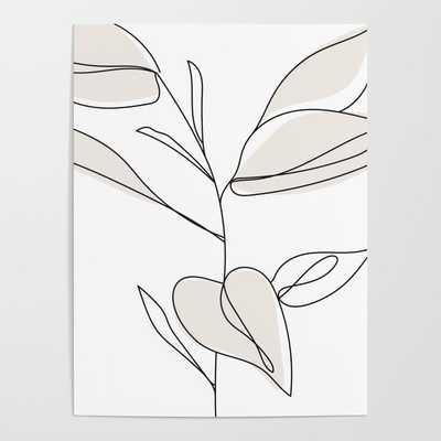 Fine Line Rubber Tree Drawing Framed Art Print - Society6