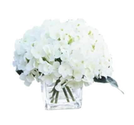 Silk Hydrangea Floral Arrangement in Vase - Wayfair