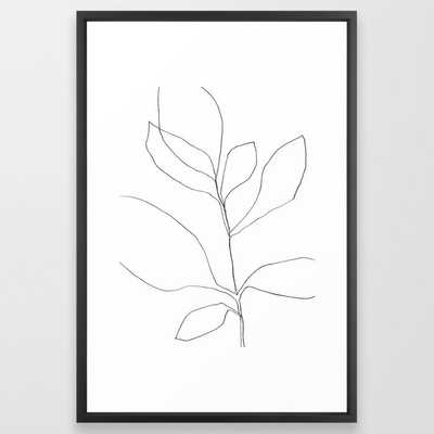"Seven Leaf Plant - Minimalist Botanical Line Drawing Framed Art Print, 26"" x 38"" - Society6"