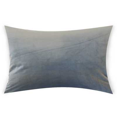 "Classic Velvet Pillow, Steel, 12"" x 18"" Lumbar - Havenly Essentials"