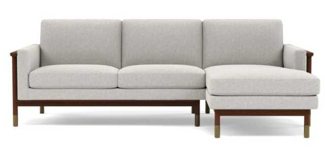 Jason Wu Right Sectional with Pebble Wheat Fabric and Oiled Walnut with Brass Cap legs - Interior Define