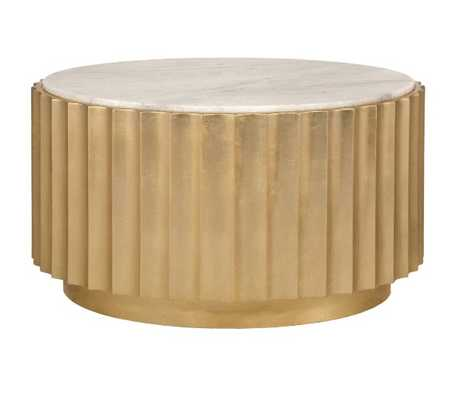 Gold Leaf Scalloped Round Coffee Table with White Marble Top - Burke Decor
