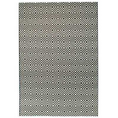 Ammons Geometric Black/White Indoor / Outdoor Area Rug - Wayfair