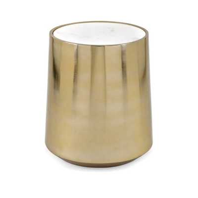 Briar Metal and Marble Drum Table - Mercer Collection