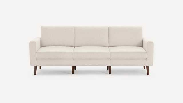 Block Nomad Sofa - Ivory, Block Arm, Walnut Legs, Flip Back Cushions - Burrow