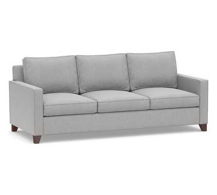 """Cameron Square Arm Upholstered Deep Seat Grand Sofa 3-Seater 96"""", Polyester Wrapped Cushions, Sunbrella(R) Performance Chenille Fog - Pottery Barn"""
