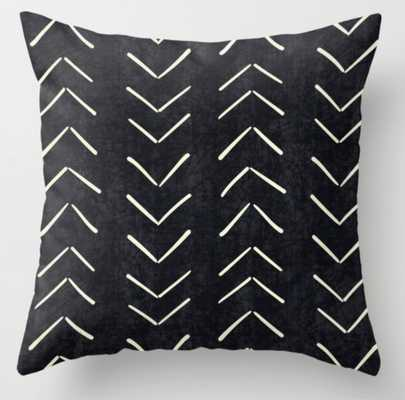 Mudcloth Big Arrows in Black and White Throw Pillow - Society6