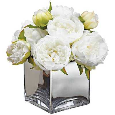 """White Peonies 14 1/4"""" High Faux Flowers in Glass Container - Style # 58H00 - Lamps Plus"""