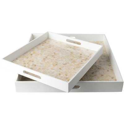 Lillis 2 Piece Rectangle Serving Tray Set - Wayfair