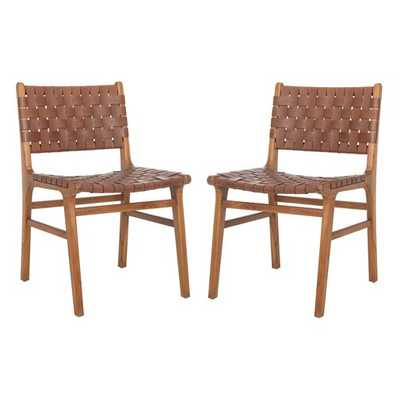 Greta Woven Leather Dining Chair (Set of Two) - Wayfair