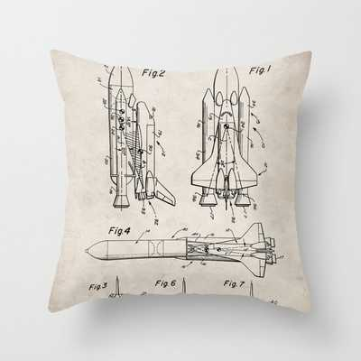 """Nasa Space Shuttle Patent - Nasa Shuttle Art - Antique Throw Pillow by Patent Press (Indoor) - 18""""x18"""" - Society6"""
