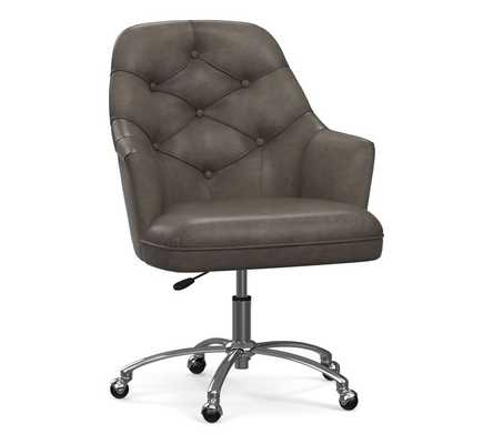 Everett Leather Desk Chair, Burnished Wolf Gray - Pottery Barn