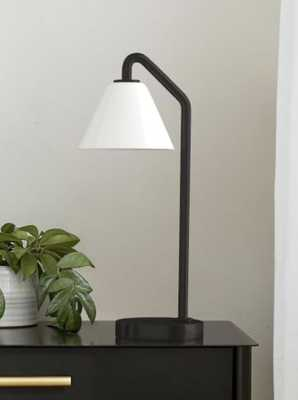Sculptural Table Lamp, Cone Mini, Milk, Antique Bronze - West Elm