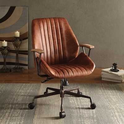 Kirbyville Genuine Leather Task Chair - cocoa leather - AllModern