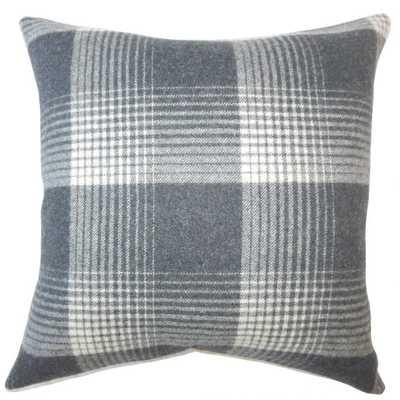 Tiernan Plaid Pillow Charcoal w/ Down Insert - Linen & Seam