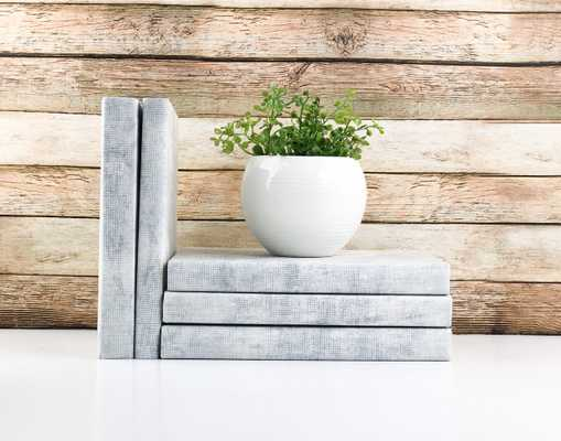 Set of 3 Decorative Books- Textured Light Gray - Havenly Essentials