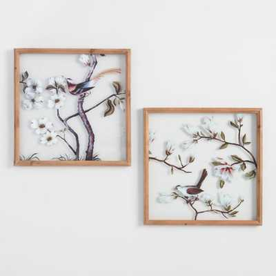 Birds And Blossoms Glass Pane Wall Art Set Of 2 - World Market/Cost Plus