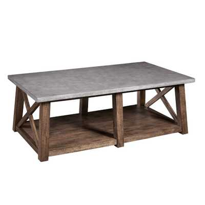 Home Meridian Farmhouse Style Distressed Cocktail Table, Brown - Home Depot