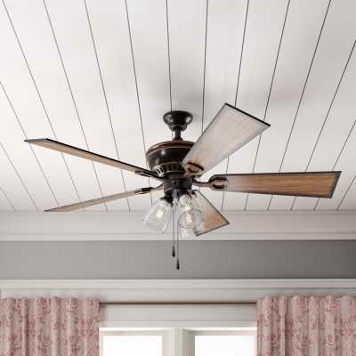 """52"""" O'Hanlon 5 Blade Ceiling Fan, Light Kit Included - Wayfair"""