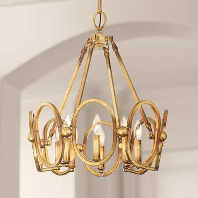 "Clairpointe 21"" Wide 8-Light Pandora Gold Leaf Chandelier - Lamps Plus"