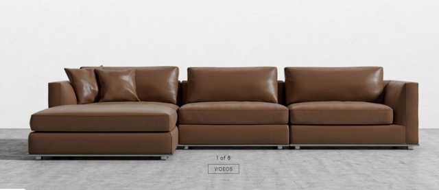 Porter Sectional - Trento Caramel Microfiber Leather - Rove Concepts