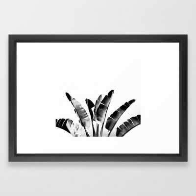 Traveler palm - bw Framed Art Print - 15x21 - vector black frame - Society6