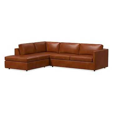 "Harris Sectional Set 12: Right Arm 75"" Sofa, Left Arm Terminal Chaise, Poly, Leather, Old Saddle - West Elm"