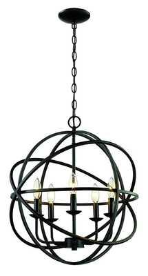 Rubbed Oil Bronze Hankinson 5-Light Candle Style Globe Chandelier - Wayfair