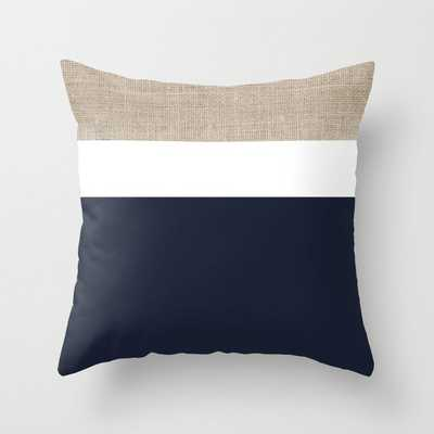 Faux Burlap, White, and Navy Minimalist Color Block 2 Throw Pillow - Society6