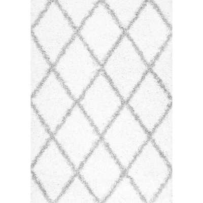 Colona Geometric Shag White Area Rug - Wayfair