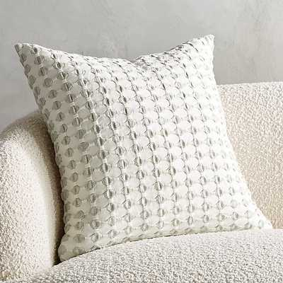 """20"""" ESTELA GREY AND WHITE PILLOW WITH DOWN-ALTERNATIVE INSERT - CB2"""