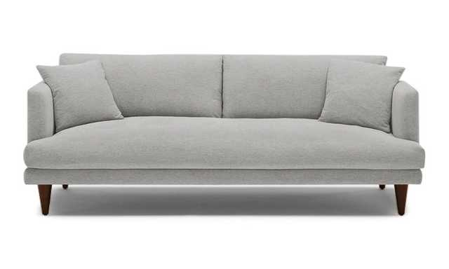 Gray Lewis Mid Century Modern Sofa - Sunbrella Premier Fog - Medium - Cone Legs - Joybird