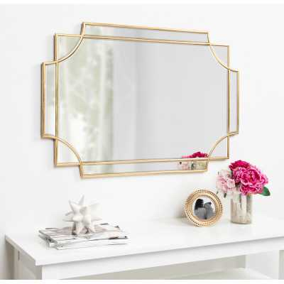 "House of Hampton 36"" x 24"" Gold Leslie Beveled Wall Mirror - 36""x24"" - Wayfair"