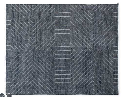 Parallel Wave Blue / White Rug 8 x 10 - Article