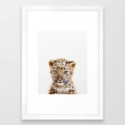"Baby Leoard, Baby Animals Art Print By Synplus Framed Art Print with Vector White Frame - 15""x21"" - Society6"