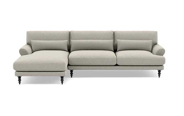 Maxwell Left Sectional with Grey Fog Fabric and Matte Black legs - Interior Define