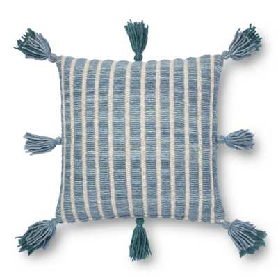 "Justina Blakeney x Loloi PILLOWS P0837 Blue / Teal 18"" x 18"" Cover w/Poly - Justina Blakeney x Loloi Rugs"