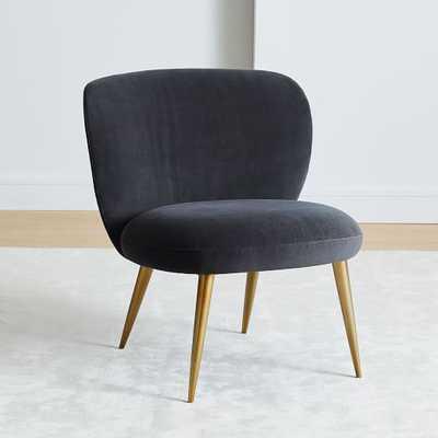 Ginger Slipper Chair, Performance Velvet Shadow - West Elm
