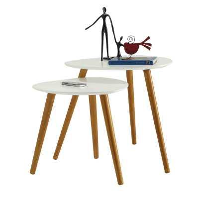 Phoebe 2 Piece Nesting Tables- bamboo & white - Wayfair