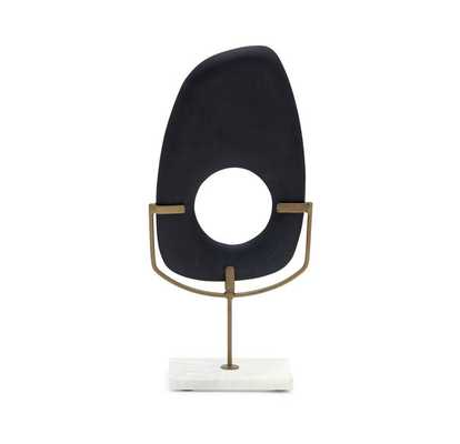 TALL MATTE BLACK WOOD SCULPTURE ON STAND - Mitchell Gold + Bob Williams
