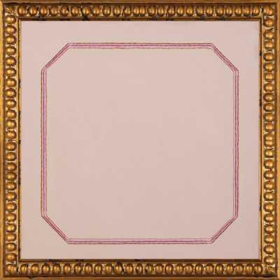 Snail Pink Bevel, Final Framed Size - 16 x 16, Gold Crackle Bead Wood Frame - Artfully Walls