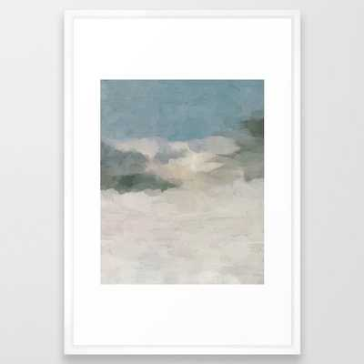 Modern Abstract Painting, Teal Blue, Sage Green, Beige Yellow Sandy Digital Prints Wall Art, Ocean Framed Art Print 20x26 - Society6