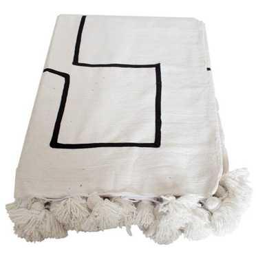 Juno King Pom Pom Cotton Blanket - Pink on Gray - Wayfair