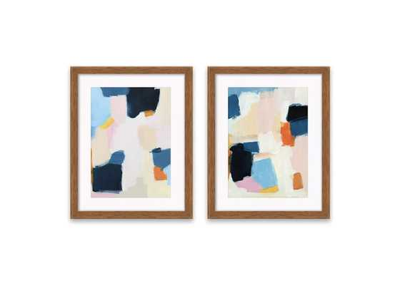 "(Set of 2) 16.25""x20.25"" Abstract Framed Print Decorative Wall Art Blue/Pink - Project 62™ - Target"