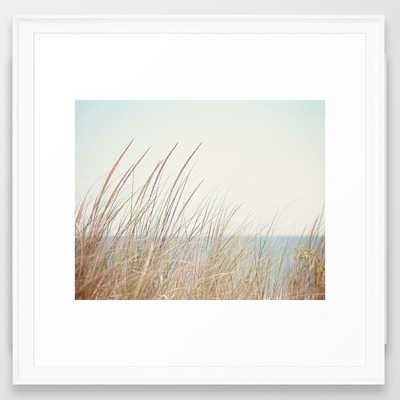 "Beach Grass Photography, Calming Coastal Photo Print, Relaxing Beach House Photograph, Seaside Photo Framed Art Print Scoop White 22""x22"" - Society6"
