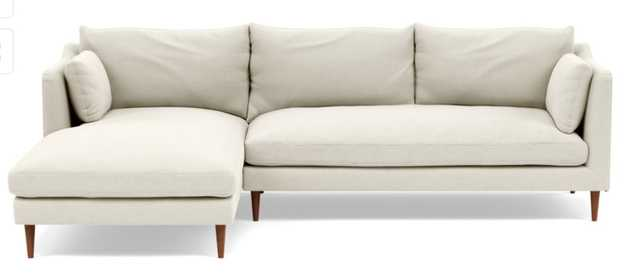 Caitlin Left Chaise Sectional, Oiled Walnut Tapered Leg, Chalk - Interior Define