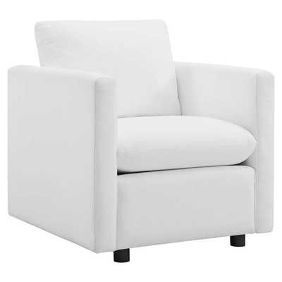 ACTIVATE UPHOLSTERED FABRIC ARMCHAIR IN WHITE - Modway Furniture
