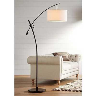 Bronze Boom Arc Floor Lamp with Linen Shade - Lamps Plus