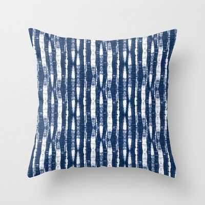 "Indoor Shibori Stripes Indigo Blue Throw Pillow - 18""x18"" with insert - Society6"