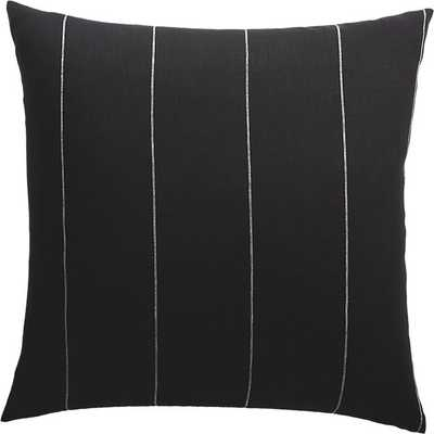 "20"" PINSTRIPE BLACK LINEN PILLOW WITH DOWN-ALTERNATIVE INSERT - CB2"